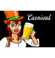 Pretty Bavarian girl with beer Oktoberfest girl vector image