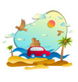 red car with baggage in scenic seascape with vector image vector image