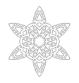 Round ornament for coloring books Black white vector image
