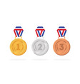 set of winner medals gold bronze and silver vector image