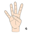 Sign language number 4 vector image vector image