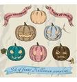 Six isolated Halloween pumpkins set vector image