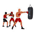 sportsman boxing punching bag professional boxer vector image