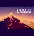 sunset mountain landscape mountainous terrain vector image vector image