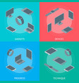 technology devices banner card set isometric view vector image vector image