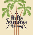 travel summer banner with decorative palm trees vector image vector image