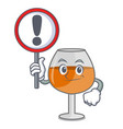 with sign cognac ballon glass character cartoon vector image vector image
