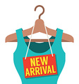 Woman Clothes On Hanger With New Arrival Tag vector image vector image