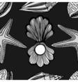 Seashells and starfish seamless pattern vector image