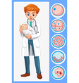 Doctor holding baby in his arms vector image
