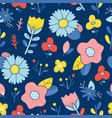 abstract happy flowers blue background pattern vector image vector image