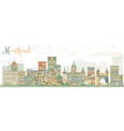 Abstract Hartford Skyline with Color Buildings vector image vector image