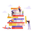 book library educational concept characters books vector image