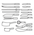 butchery equipment big set outline butcher shop vector image vector image
