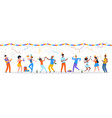 cartoon party people trendy happy dancing group vector image