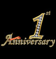 celebrating 1st anniversary golden sign vector image vector image