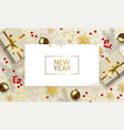 christmas and new year banner golden xmas vector image