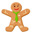 christmas oatmeal cookie in shape smiling human vector image vector image