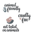 cruelty free lettering set vector image