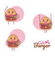 cute burgers cartoons vector image