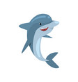 cute dolphin happily jumping out of water cartoon vector image vector image