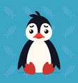 cute penguin sitting sad of vector image vector image