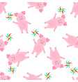 cute pig walks and keeps a pinwheel toy funny vector image vector image