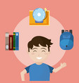 cute school boy with utensils vector image