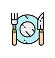 cutlery plate with fork and knife flat color line vector image vector image