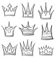 doodle crown sketch set collection vector image vector image