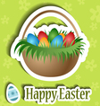 Easter card with basket and egg sticker vector image