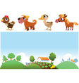 Farm landscape and animals vector image