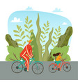 father and daughter riding on bicycles in park vector image vector image
