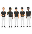 flat school baseball guys team in uniform vector image vector image