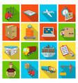 forklift cargo plane goods documents and other vector image vector image
