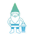 gnome with hand lamp in degraded green to blue vector image vector image