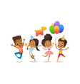 group of african-american happy boys and girls vector image vector image