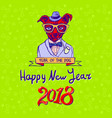 happy 2018 year of the dog dog on green vector image vector image