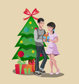 happy family giving a christmas gift vector image vector image