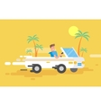 happy guy drives a white convertible vector image vector image
