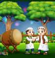 happy kid celebrating eid al fitr vector image vector image