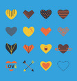 heart icon set in bright colors in flat style vector image vector image