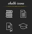 high education chalk icons set vector image