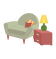 house furniture sofa and lamp on bedside vector image vector image