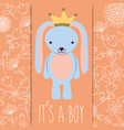 its a boy baby shower blue rabbit with crown card vector image