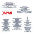 japan landmarks icons temples japanese pagodas vector image vector image