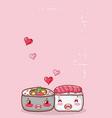 kawaii sushi and soup ramen food japanese cartoon vector image vector image