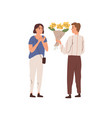 man giving bouquet beautiful flowers to woman vector image vector image