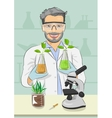 Mature man biologist with protective glasses vector image