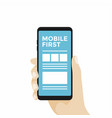mobile first concept design smartphone in hand vector image vector image